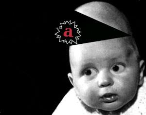 Um bebê é vítima da mídia.