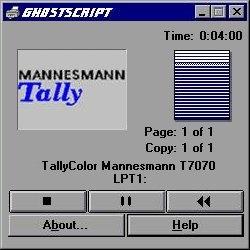 Mannesman Tally printer dialog