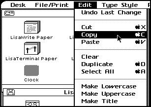 Copiar e colar no menu do Lisa