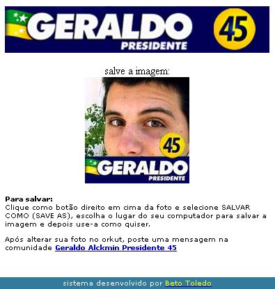 Adesivo virtual para a campanha do Alckmin