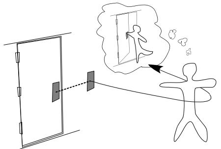 Uma pessoa prestes a abrir uma porta