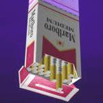 Caixa de cigarro virada pra baixo
