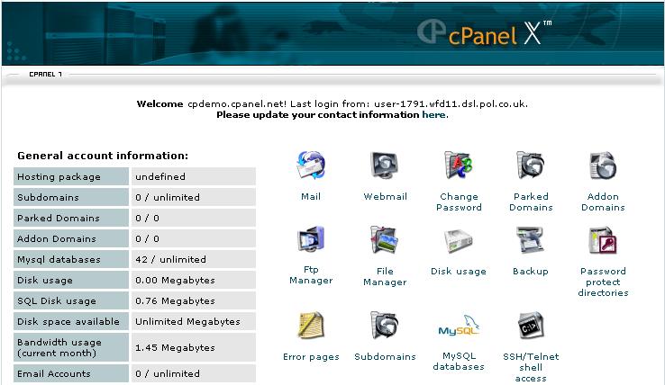 Interface do Cpanel