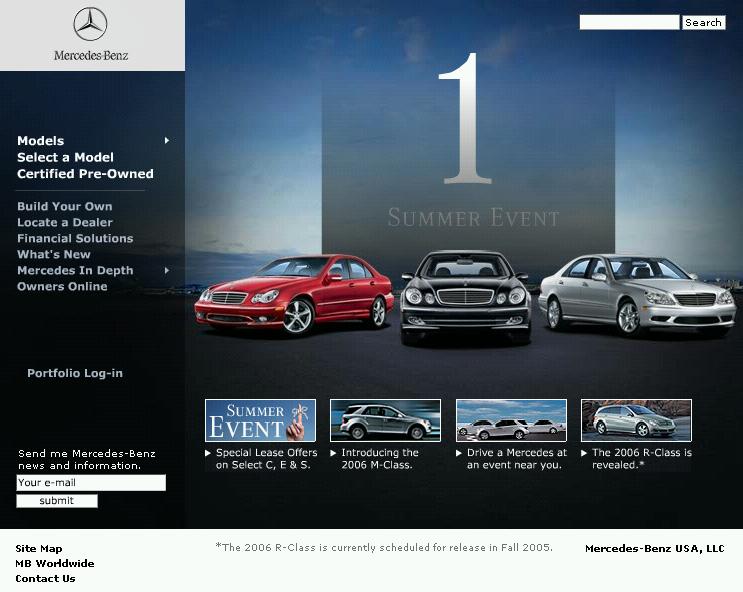 Homepage do site da Mercedes USA