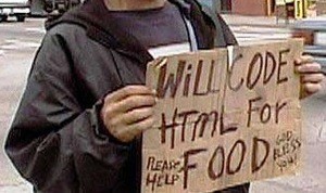 Homem que codifica HTML em troca de comida
