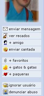 Menu do perfil de usuário no Orkut