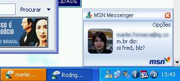Janela de chegada de mensagem no MSN