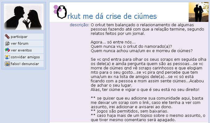 Comunidade o Orkut me dá crises de ciúmes