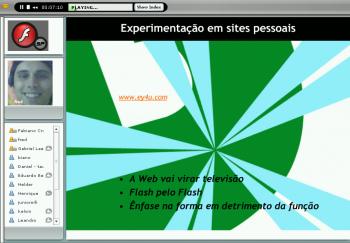 Captura de tela da exibição da palestra