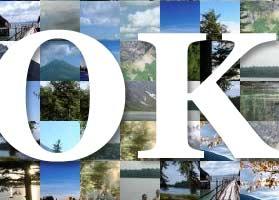 Colagem de fotos de lago e OK