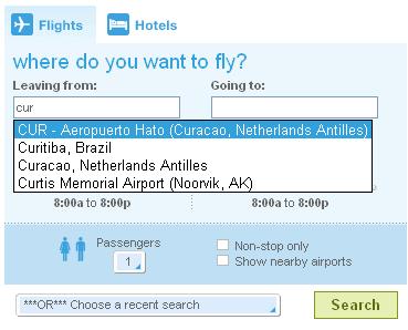 Ferramenta para encontrar passagens aéreas usando Ajax