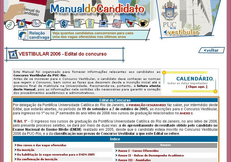 Página sobre o próximo Vestibular na Puc-Rio