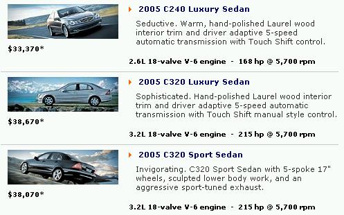 Listagem de sedans