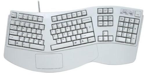 Teclado ergonômico com o botão desligar no canto direito