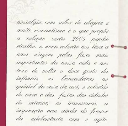 Tipografia Cursiva de difícil leitura no site Penduricalho