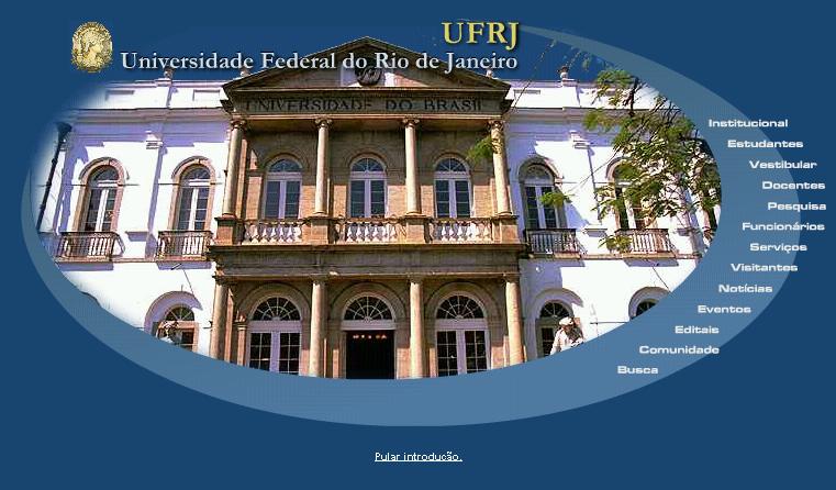Navegação por perfil na intro do site da UFRJ