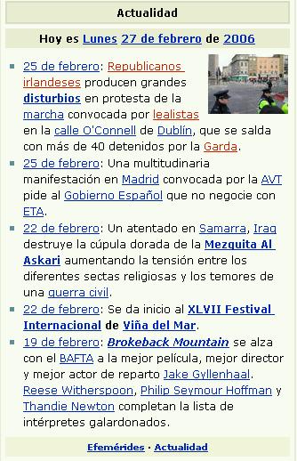 Notícias na Wikipedia em Espanhol