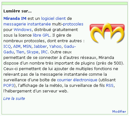 Wikipedia em Francês destacando o software Miranda