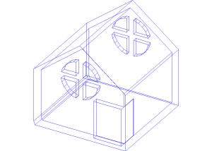 Wireframe de uma casa